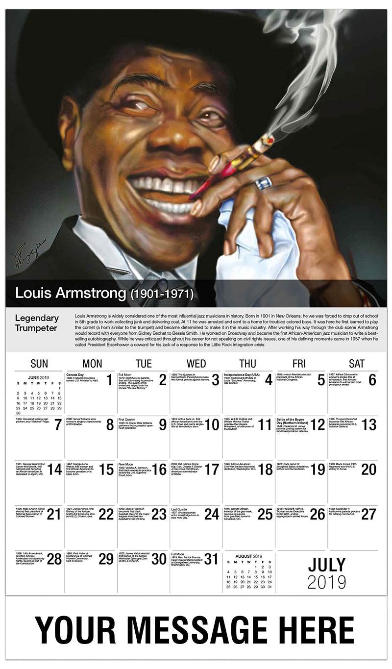 2019 Business Advertising Calendar - Louis Armstrong - July