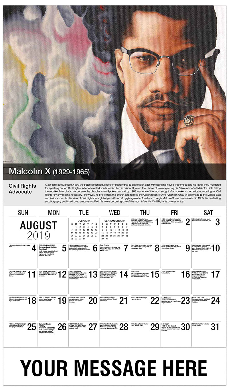 2019 Business Advertising Calendar - Malcolm X - August