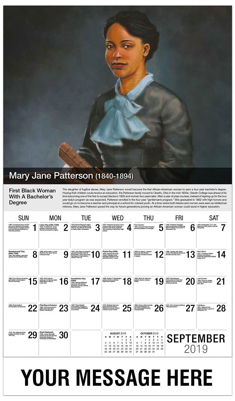 2019 Business Advertising Calendar - Mary Jane Patterson - September