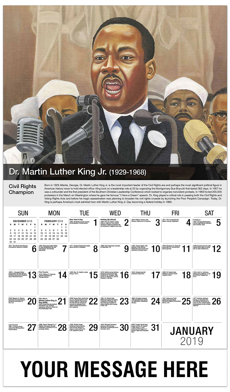 2019 Promotional Calendar - Martin Luther King - January
