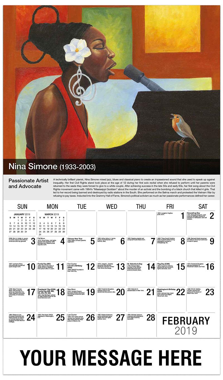 2019 Promotional Calendar - Nina Simone - February