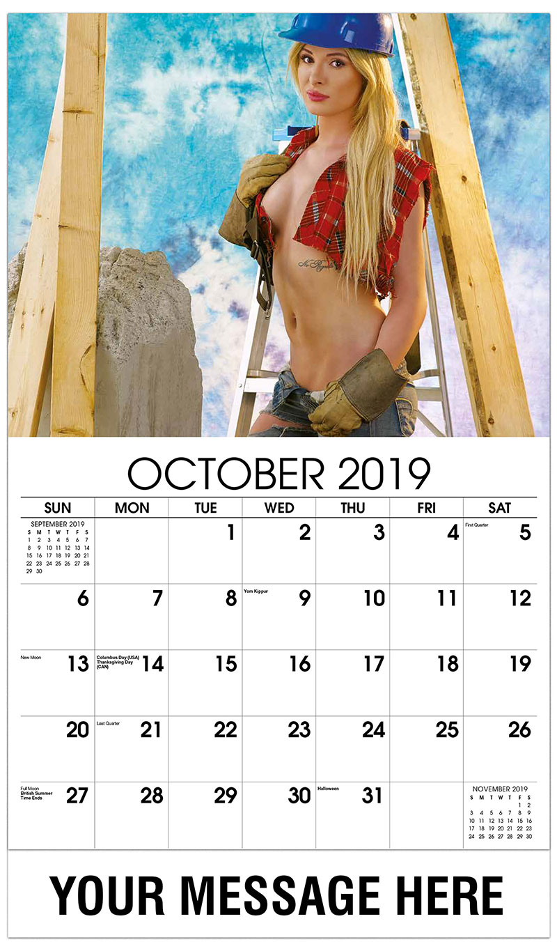 2019 Business Advertising Calendar - Shona: Red Head with Nail Gun - October