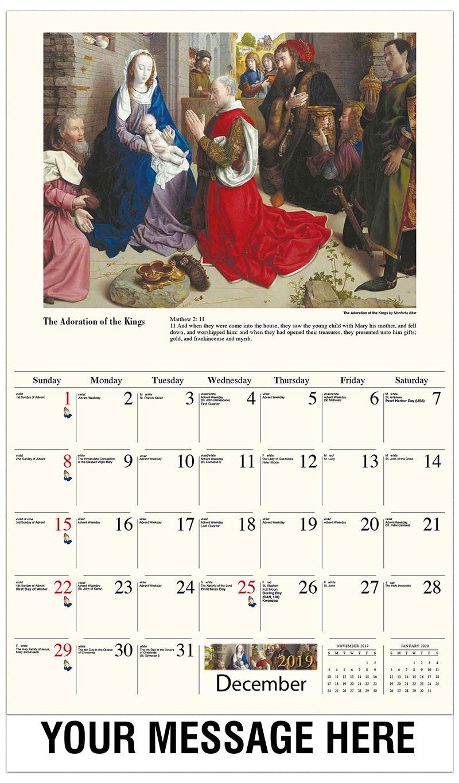2019 Advertising Calendar - The Adoration Of The Magi (Monforte Altar) By Hugo Van Der Goes - December_2019