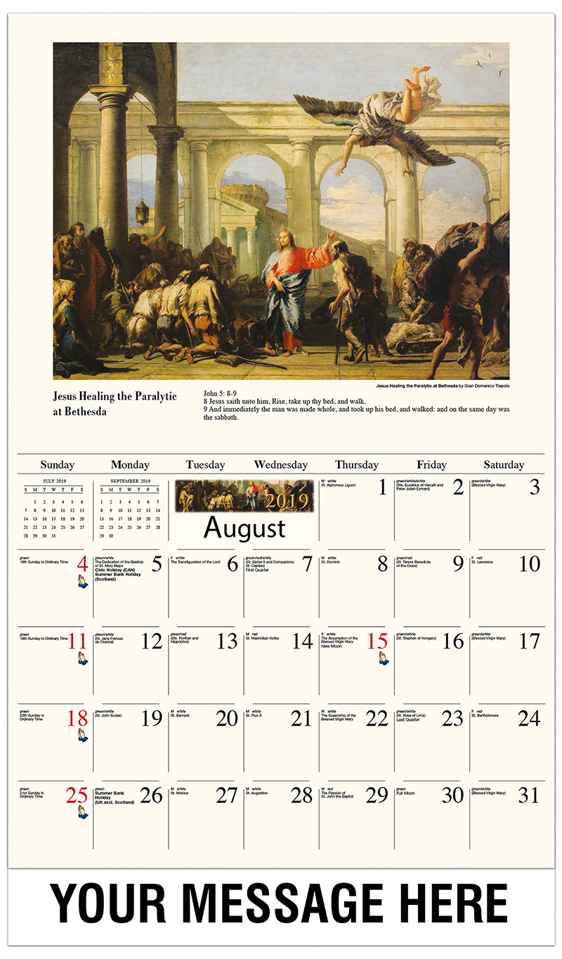 2019 Business Advertising Calendar - Jesus Healing The Paralytic Of Bethesda By Giovanni Domenico Tiepolo - August