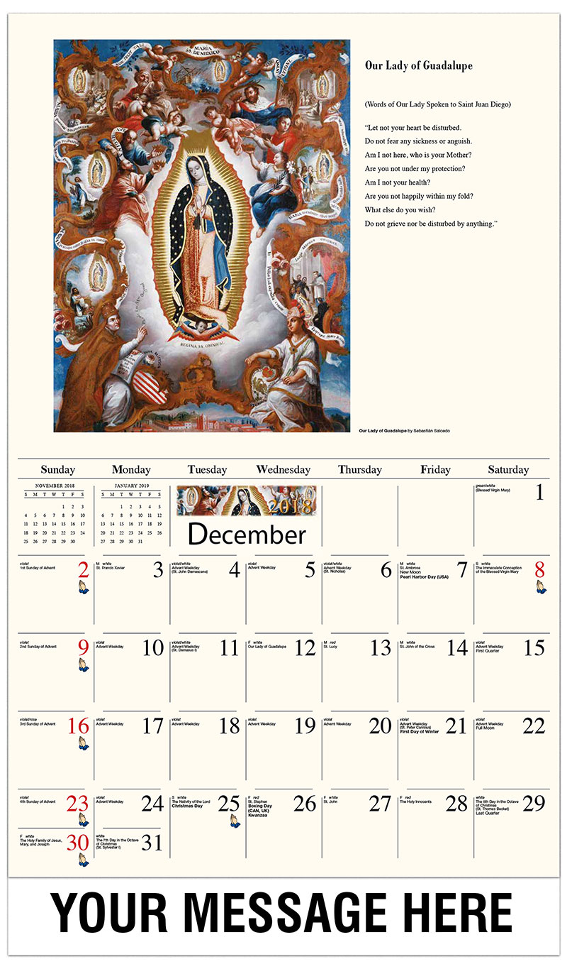 2019 Promotional Calendar - Our Lady of Guadalupe - December_2018