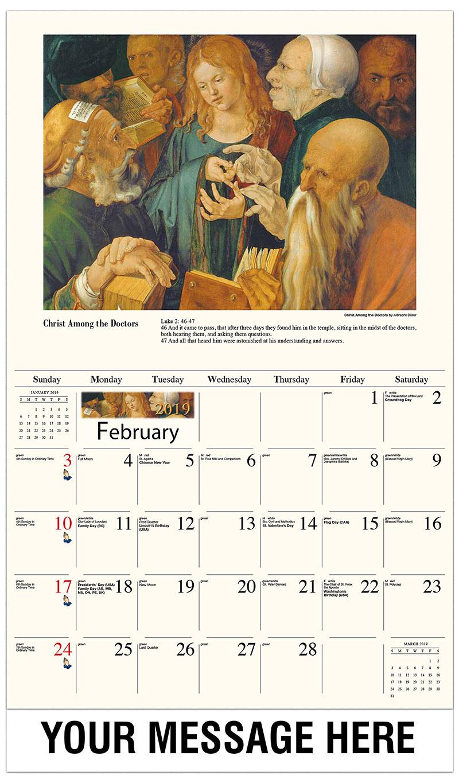 2019 Promotional Calendar - Christ Among The Doctors By Albrecht Dürer - February