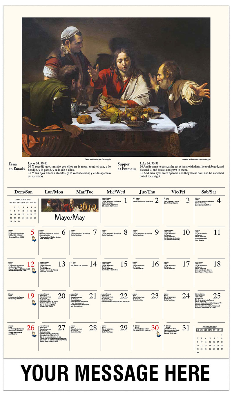 2019  Spanish-English Advertising Calendar - Ascensión de Cristo / Supper At Emmaus By Caravaggio - May