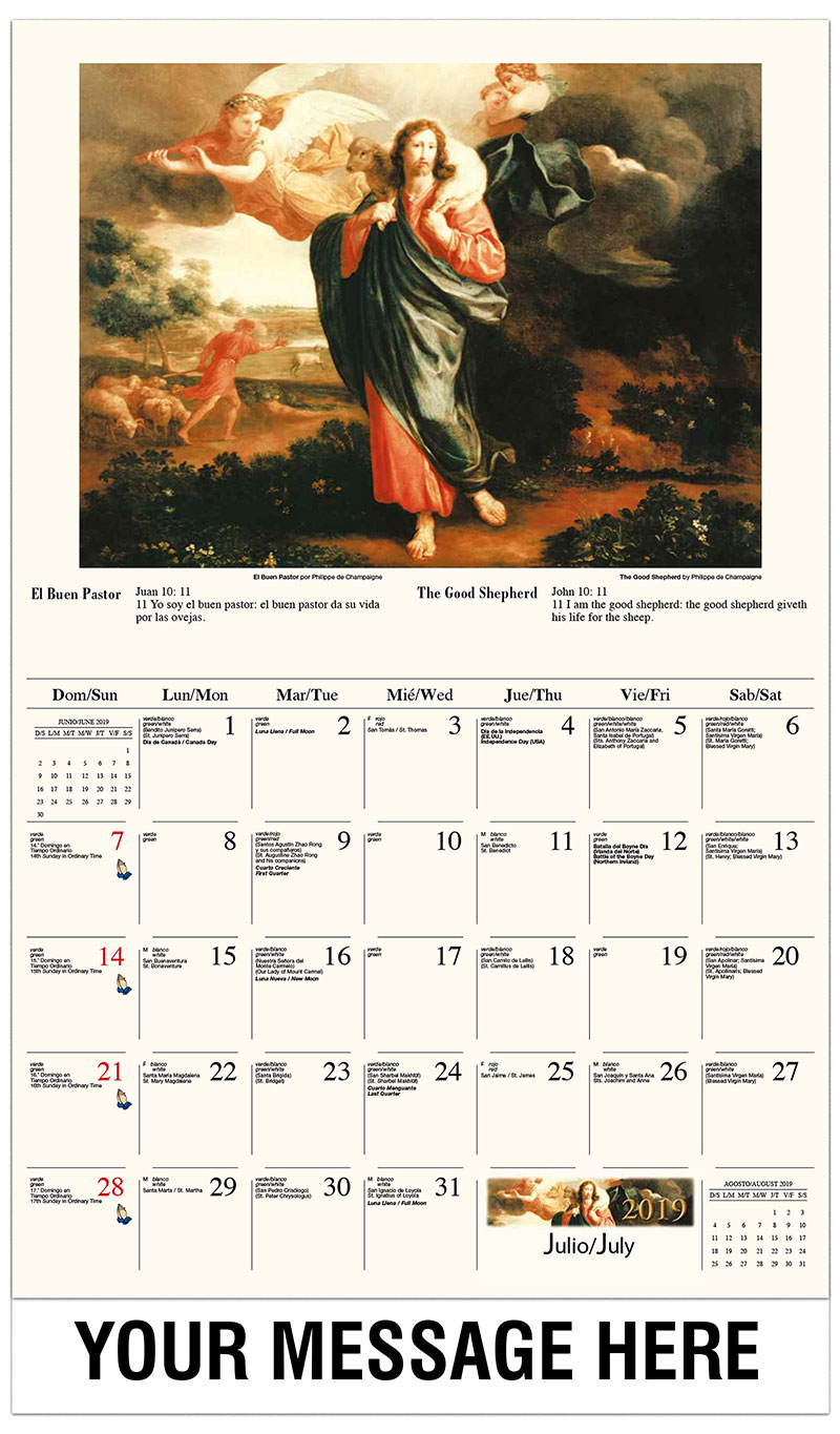 2019  Spanish-English Advertising Calendar - Curación de la hemorroísa / The Good Shepherd By Philippe De Champaigne - July