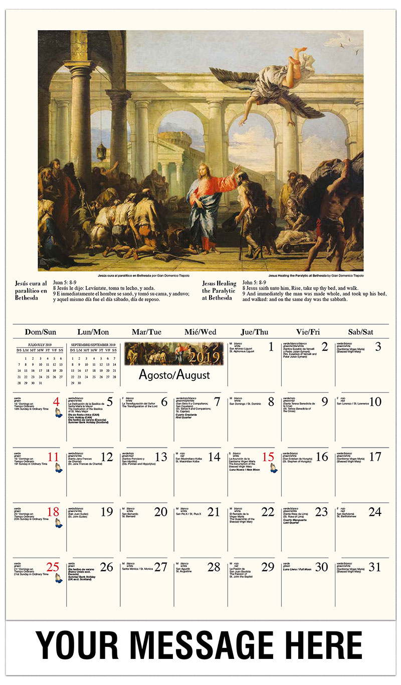 2019  Spanish-English Promo Calendar - El milagro de los panes y los peces  / Jesus Healing The Paralytic Of Bethesda By Giovanni Domenico Tiepolo - August