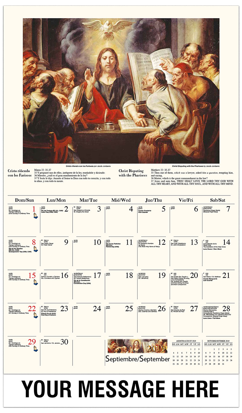2019  Spanish-English Promo Calendar - La resurrección de Lázaro / Christ Disputing With The Pharisees By Jacob Jordaens - September