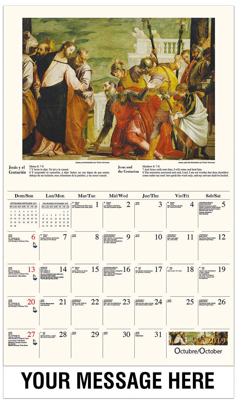 2019  Spanish-English Promo Calendar - Dejad que los niños vengan a mí / Jesus And The Centurion By Paolo Veronese - October
