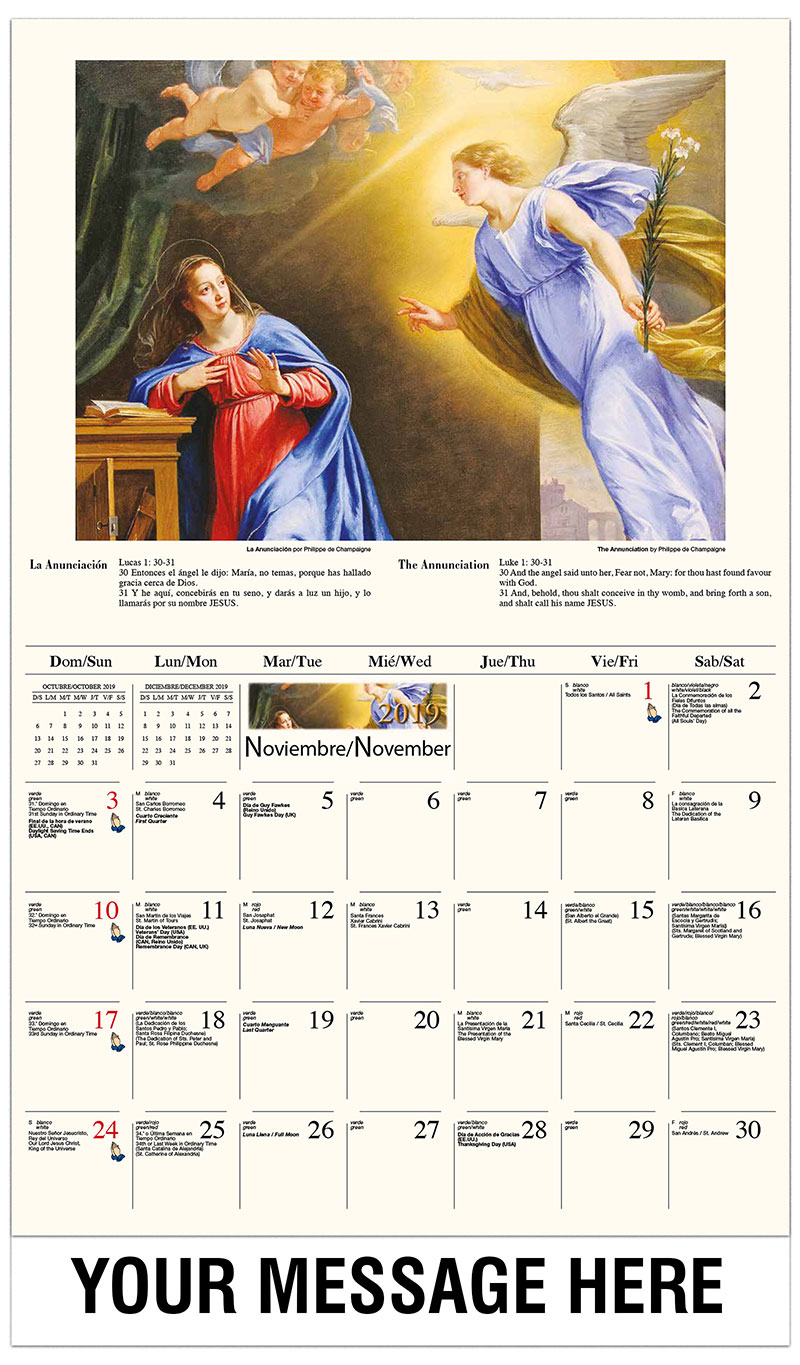 2019  Spanish-English Promo Calendar - La Anunciación / The Annunciation By Philippe De Champaigne - November