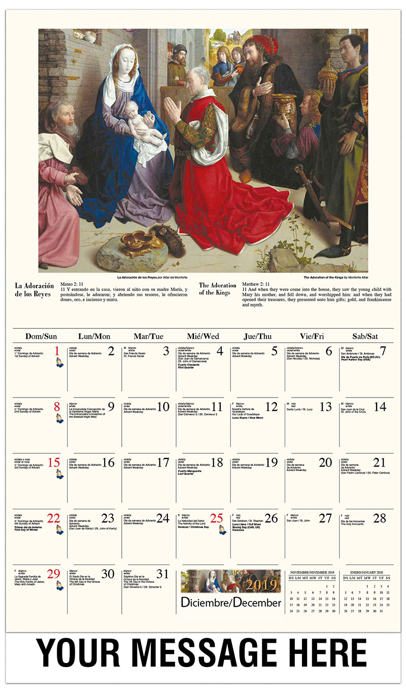 2019  Spanish-English Promo Calendar - Adoración de los pastores / The Adoration Of The Magi (Monforte Altar) By Hugo Van Der Goes - December_2019