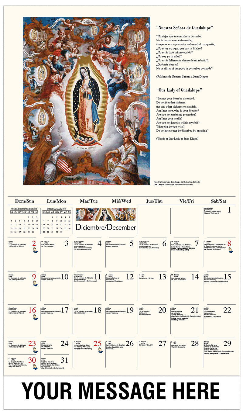 2019  Spanish-English Promotional Calendar - Nuestra Señora de Guadalupe / Our Lady Of Guadalupe - December_2018