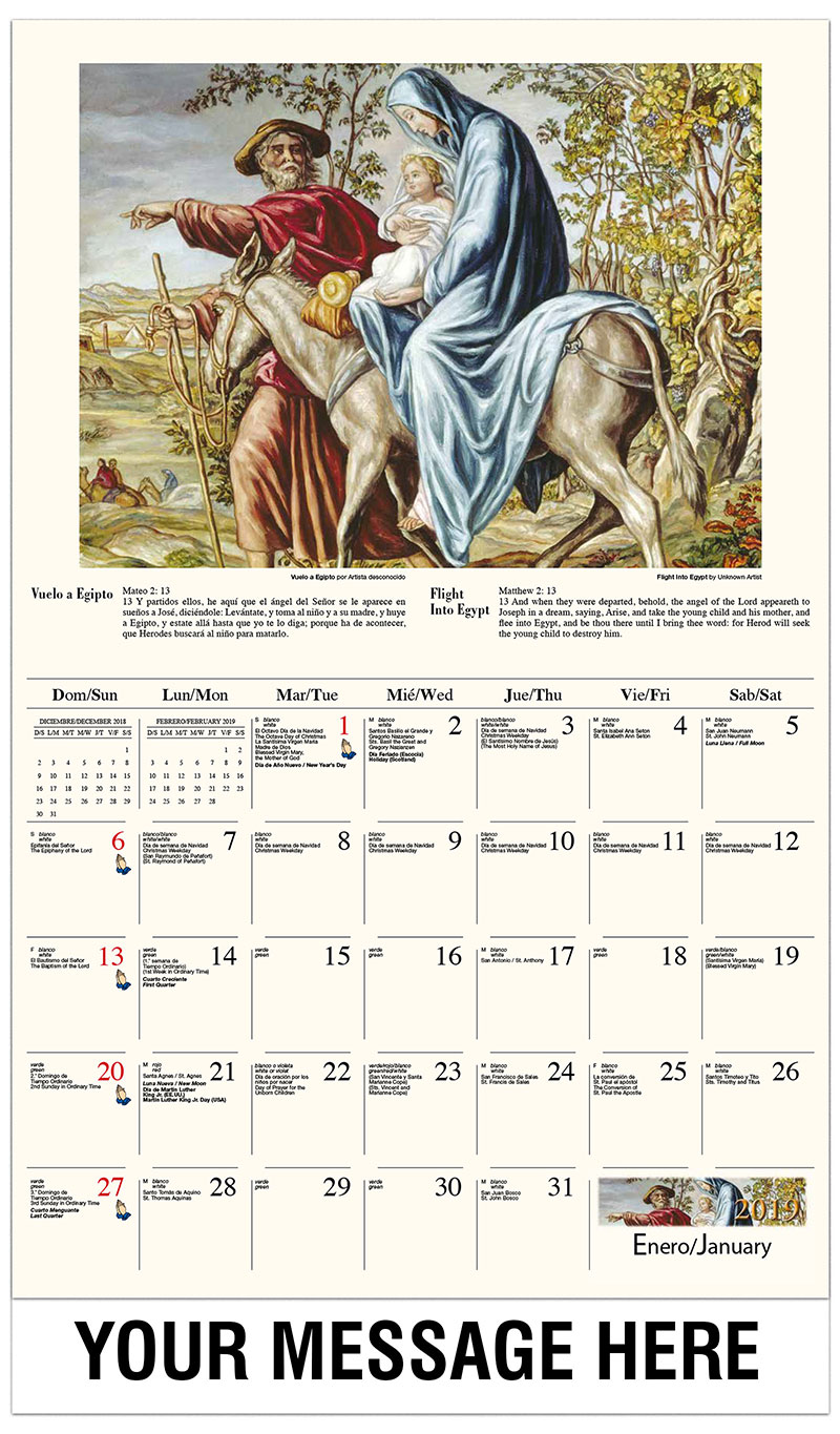 2019  Spanish-English Promotional Calendar - Descanso durante la huida a Egipto / Flight Into Egypt By Author Unknown - January