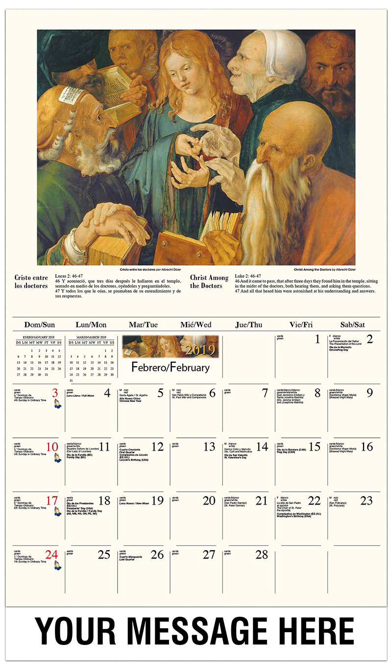 2019  Spanish-English Promotional Calendar - Jesús y San Juan en la última cena  / Christ Among The Doctors By Albrecht Dürer - February