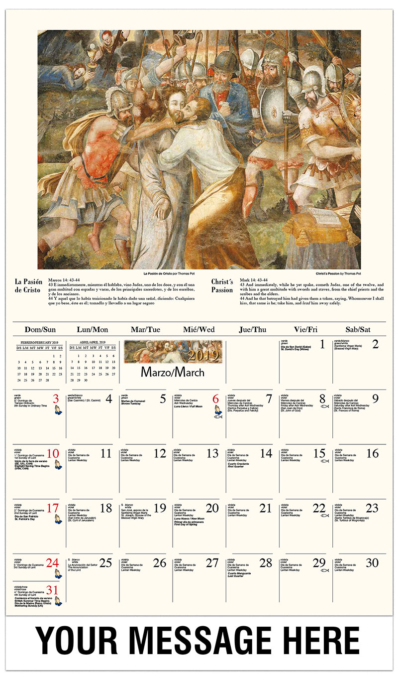 2019  Spanish-English Promotional Calendar - Entrada en Jerusalén / Christ's Passion By Thomas Pot - March