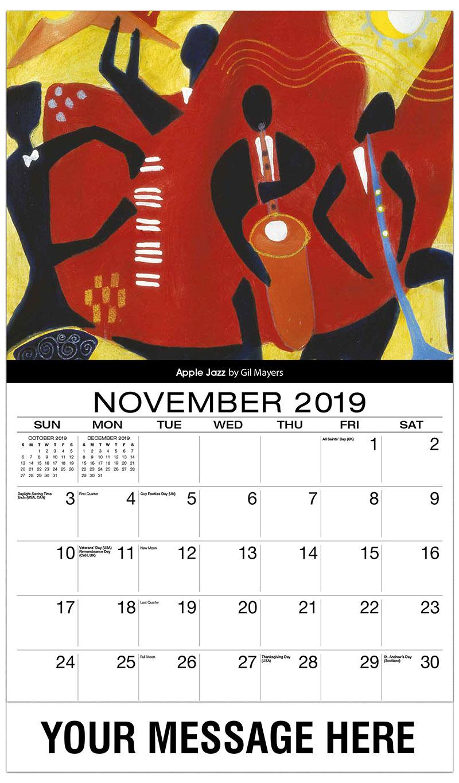 2019 Advertising Calendar - Apple Jazz By Gil Mayers - November