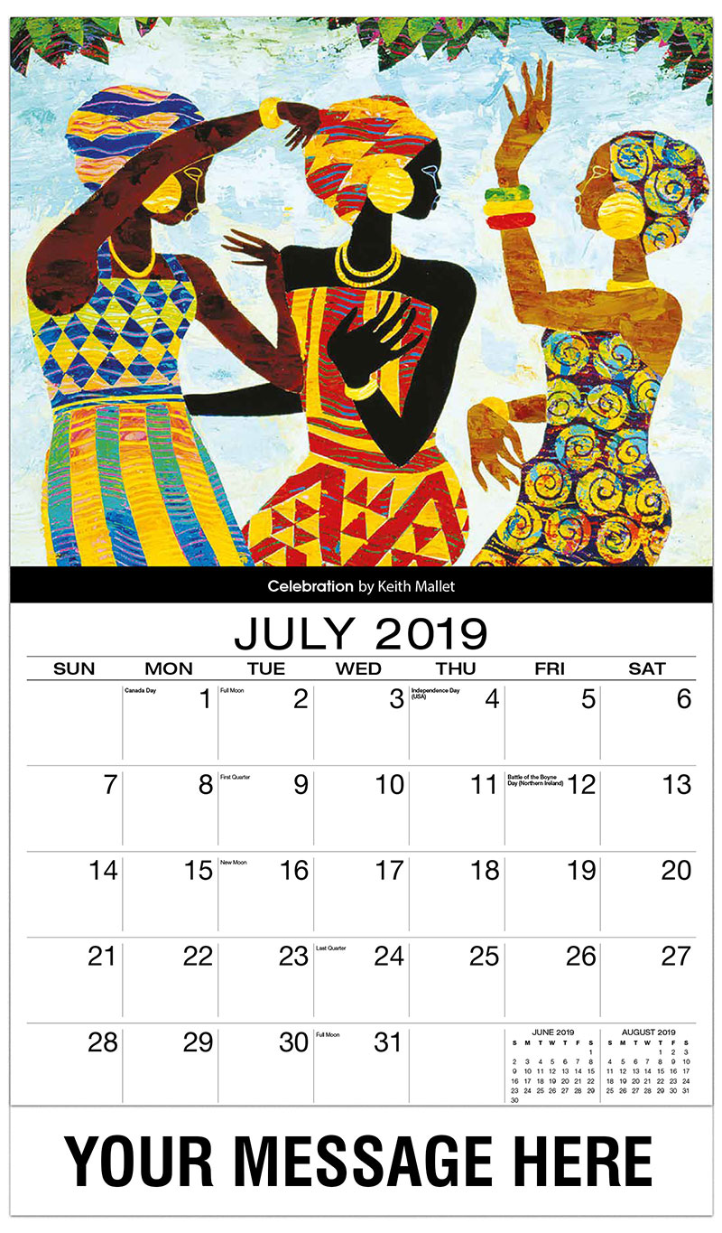 2019 Business Advertising Calendar - Celebration By Keith Mallet - July