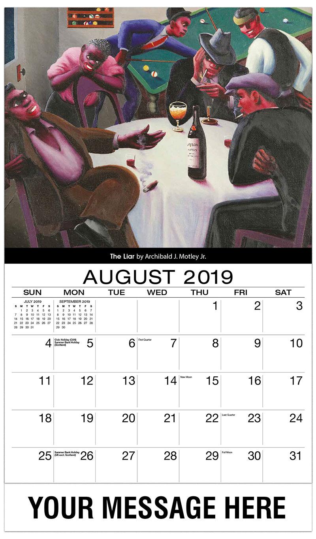 2019 Business Advertising Calendar - The Liar By Archibald J. Motley Jr. - August