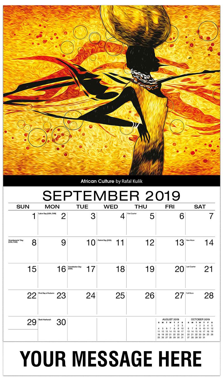 2019 Business Advertising Calendar - Africian Culture By Rafal Kulik - September