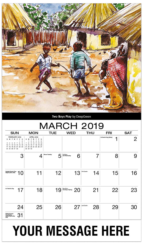 2019 Promo Calendar - Two Boys Play By Deepgreen - March