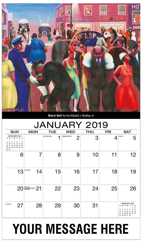 2019 Promotional Calendar - Black Belt By Archibald J. Motley Jr. - January