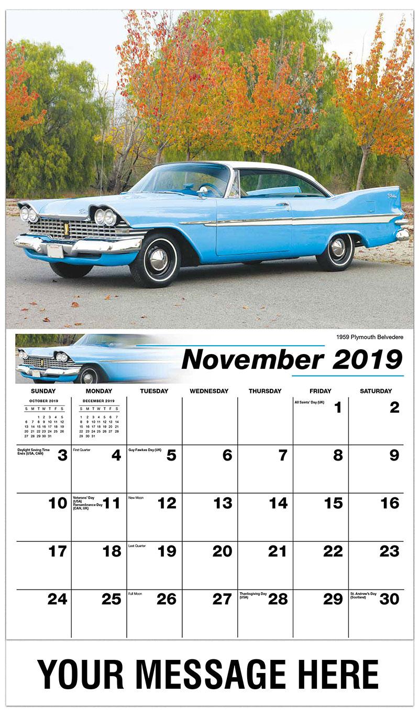 2019 Advertising Calendar - 1966 Austin-Healey 3000 MK III - November
