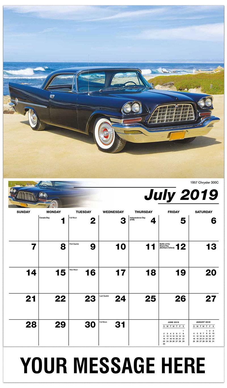 2019 Business Advertising Calendar - 1957 Chrysler 300C - July