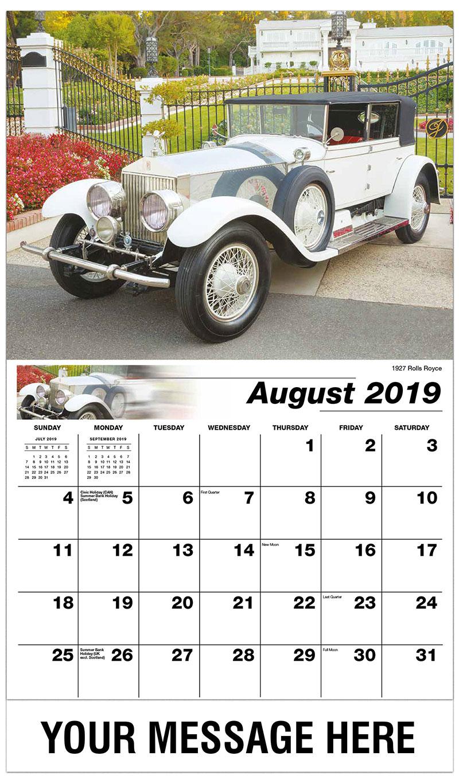 2019 Business Advertising Calendar - 1927 Rolls Royce - August