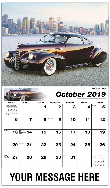2019 Business Advertising Calendar - 1940 Cadillac Lasalle - October