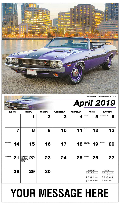 2019 Promo Calendar - 1970 Dodge Challenger Hemi R/T 426 - April