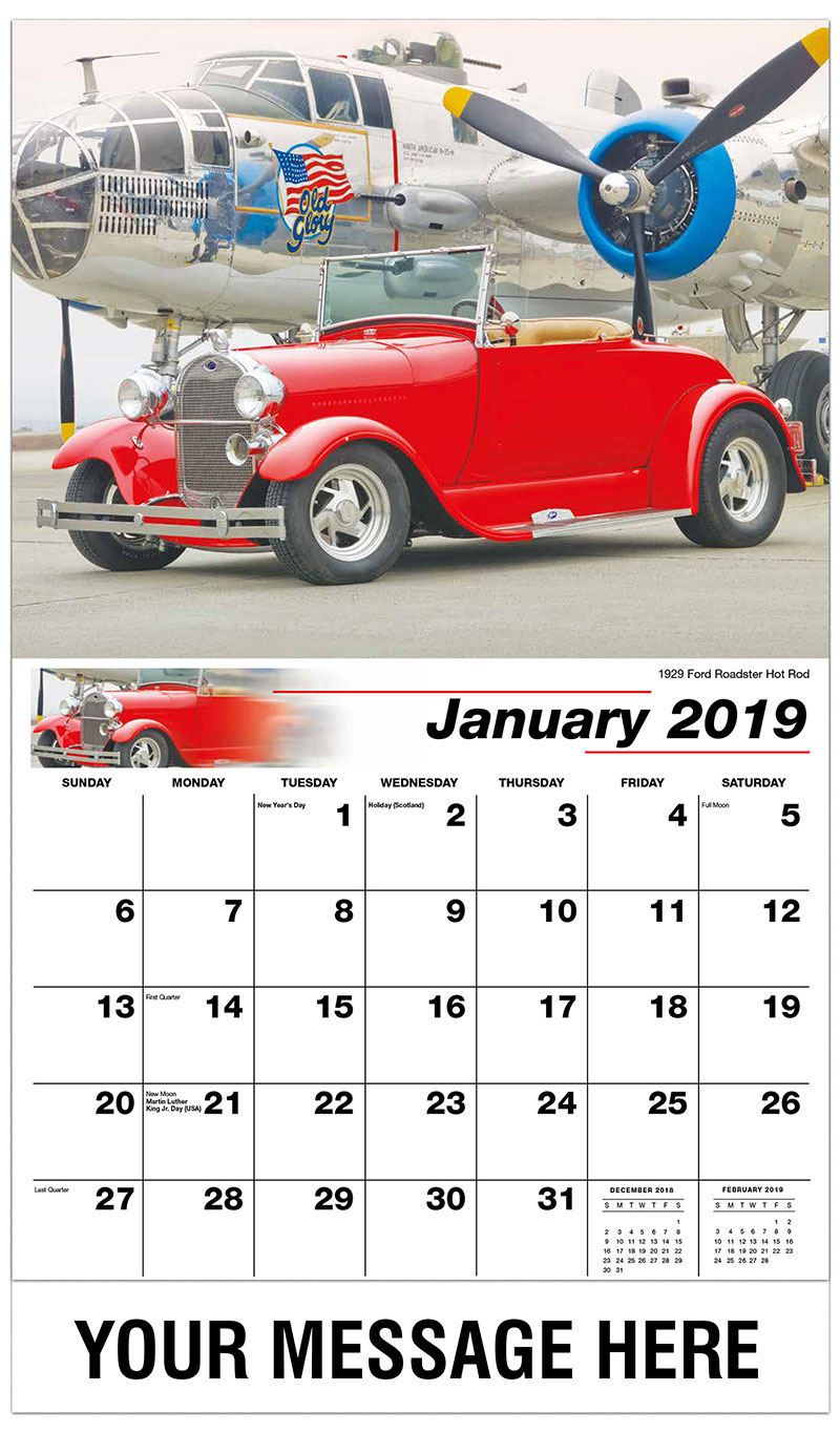 2019 Promotional Calendar - 1929 Ford Roadster Hot Rod - January