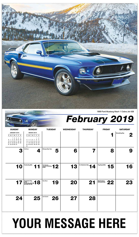 2019 Promotional Calendar - 1969 Ford Mustang Mach 1 Cobra Jet 428 - February