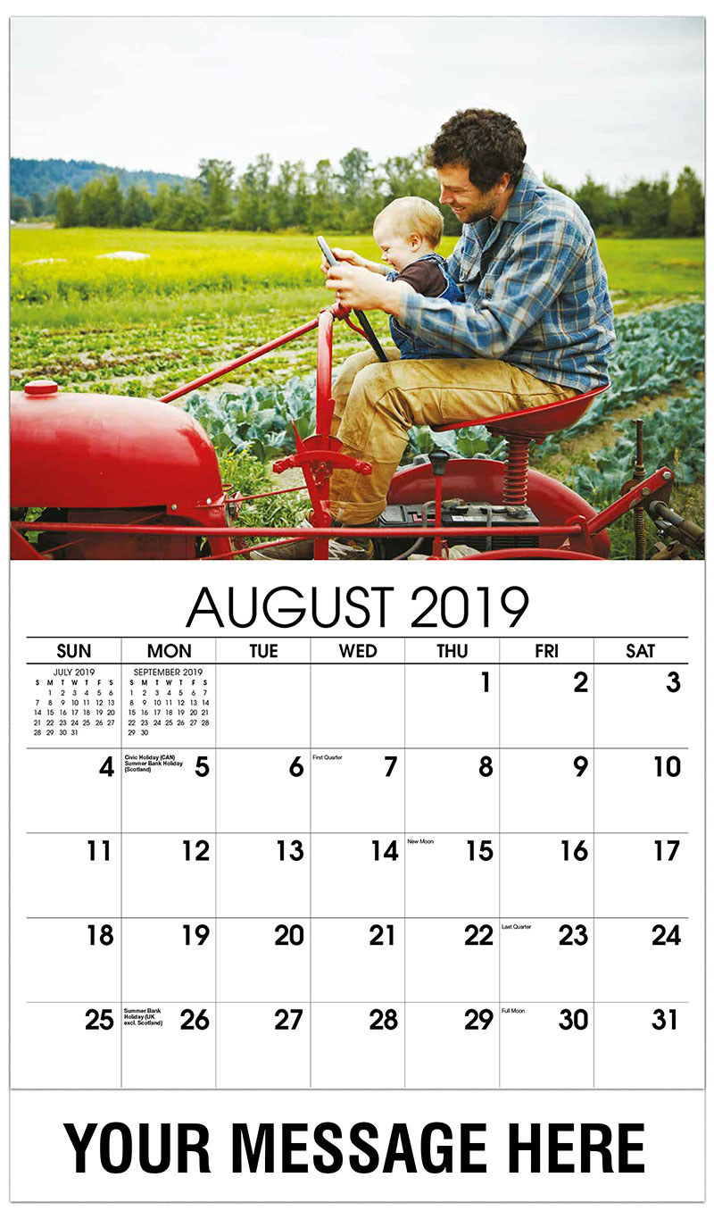 2019 Business Advertising Calendar - Farmer and Baby Sitting on Tractor in Field - August
