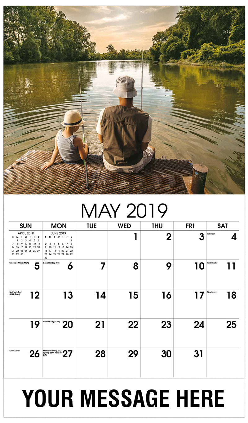 2019 Promo Calendar - Rear View of a Father and Son Fishing - May