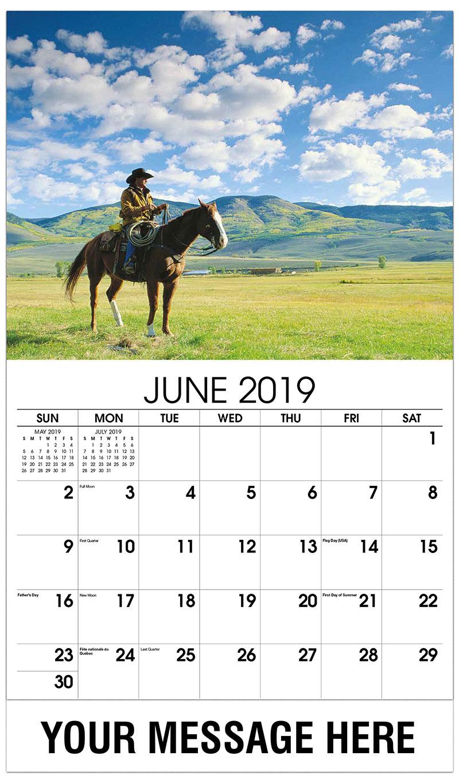 2019 Promo Calendar - Cowboy on Horse - June