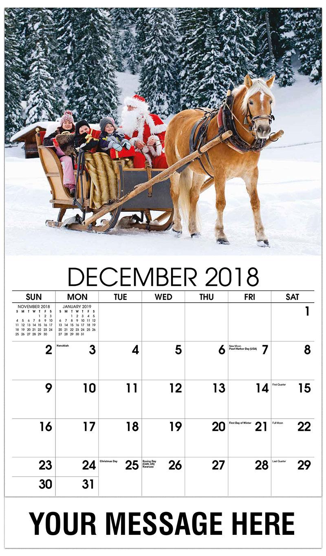 2019 Promotional Calendar - Santa Riding a Sleigh Ride - December_2018