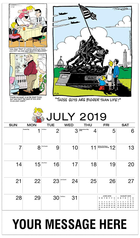 2019 Business Advertising Calendar - Dennis the Menace Comics - July
