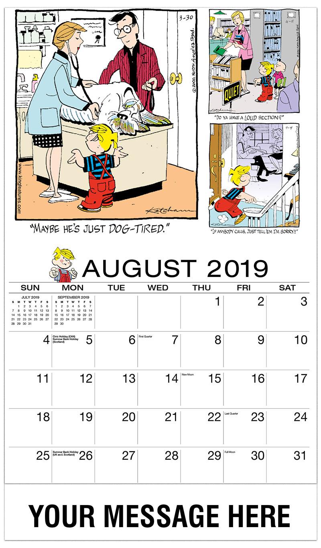 2019 Business Advertising Calendar - Dennis the Menace Comics - August