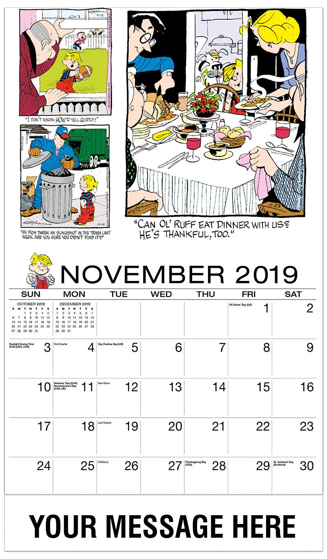 2019 Promo Calendar - Dennis the Menace Comics - November