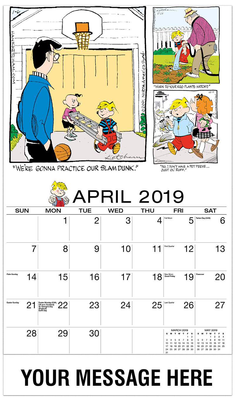 2019 Promotional Calendar - Dennis the Menace Comics - April