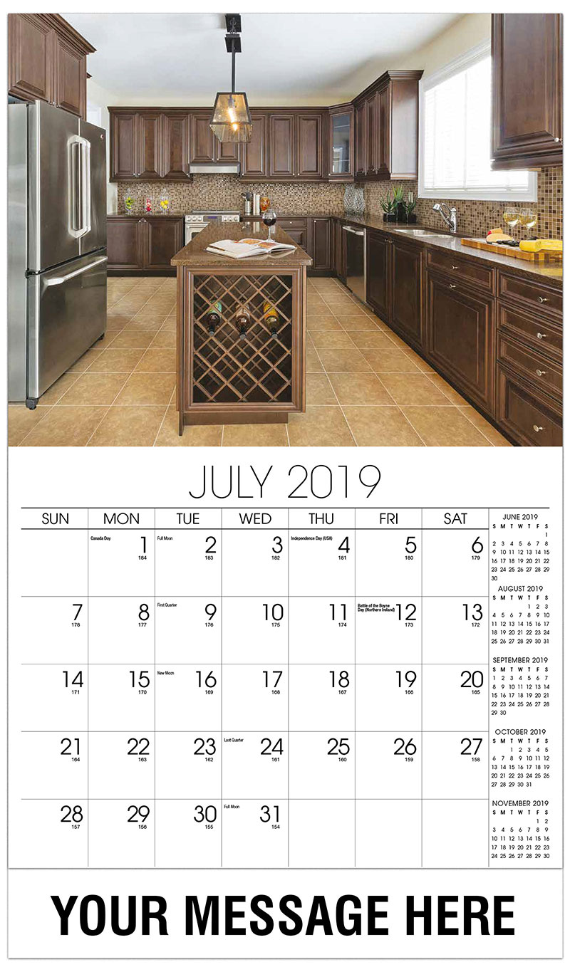 2019 Business Advertising Calendar - Brown Kitchen - July