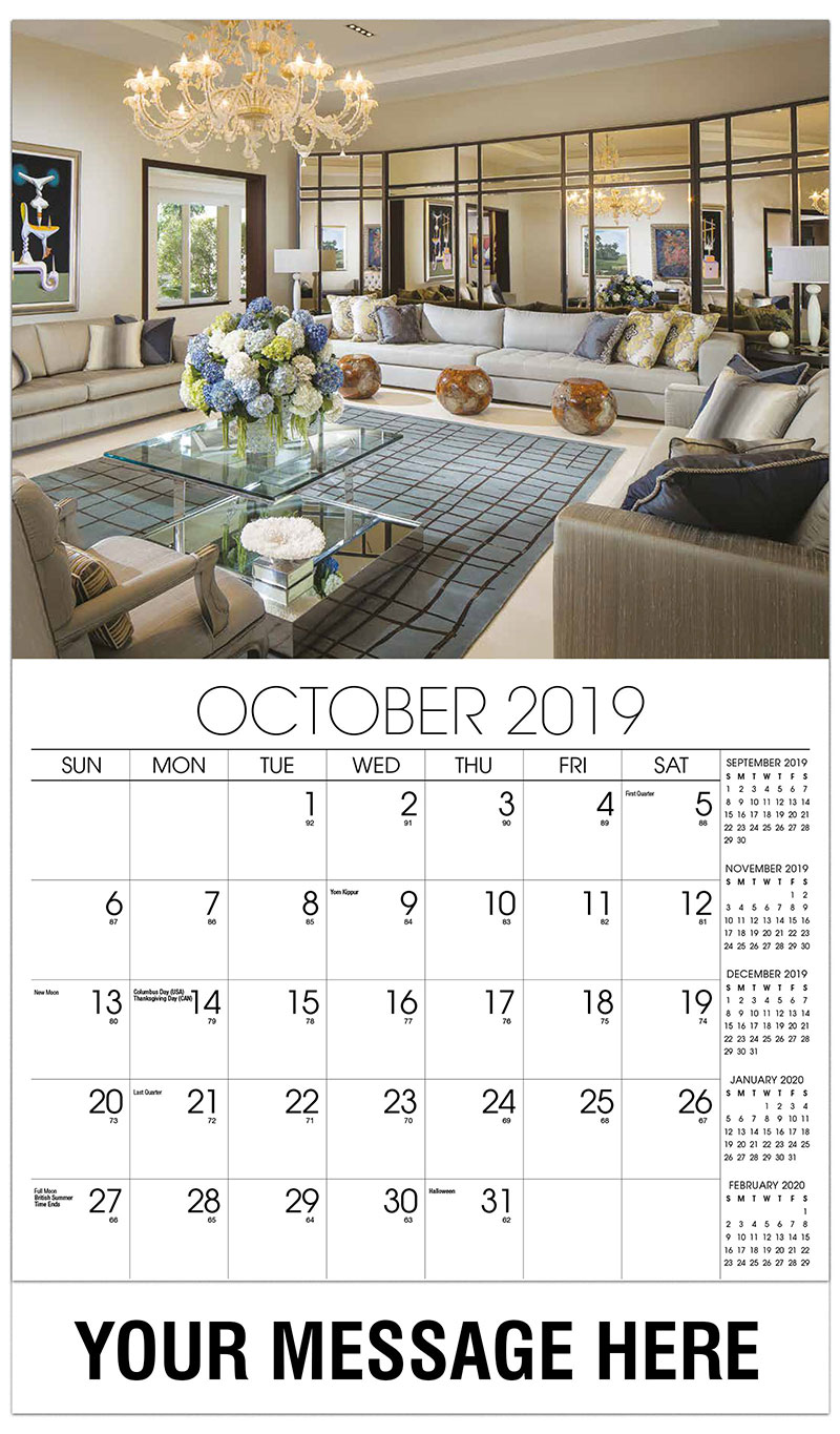 2019 Business Advertising Calendar - Modern Living Room with Mirror Wall - October