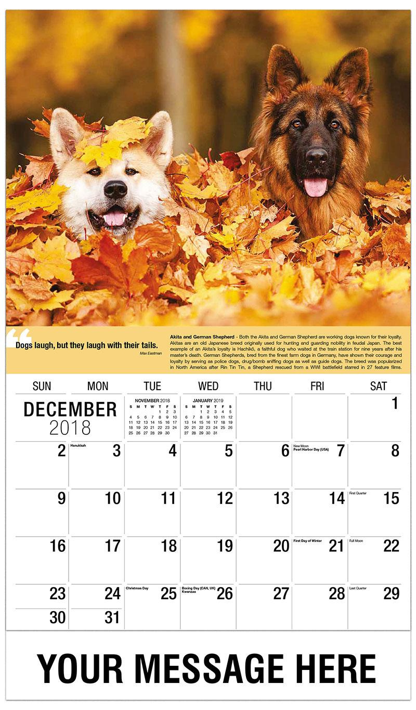 2019 Advertising Calendar - Akita and Shepherd in Leaves - December_2018