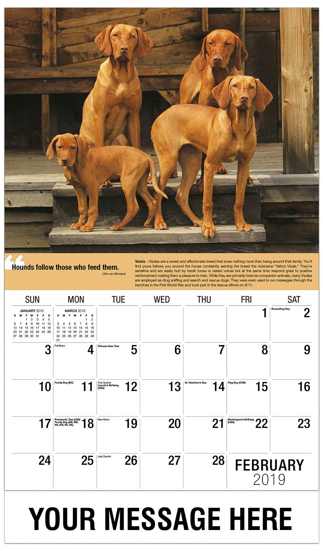 2019 Advertising Calendar - Vizsla Family - February