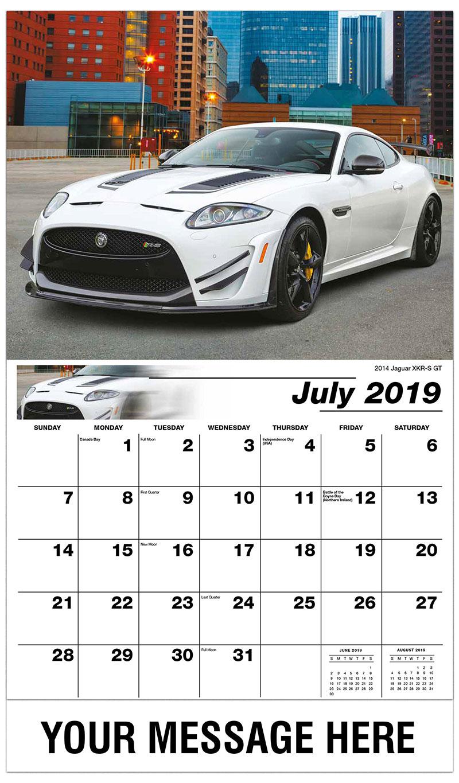 2019 Business Advertising Calendar - 2014 Jaguar XKR-S GT - July