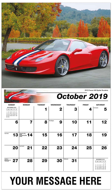 2019 Business Advertising Calendar - 2013 Ferrari 459 Spider Scuderia - October