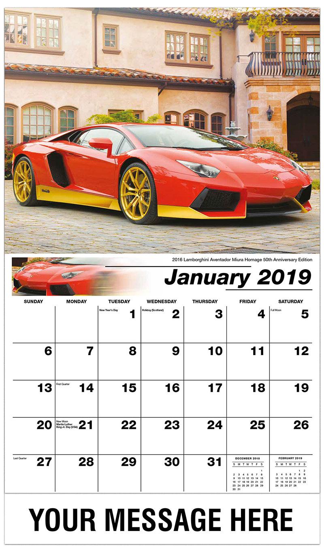 2019 Promotional Calendar - 2016 Lamborghini Aventador Miura Homage 50Th Anniversary Edition - January