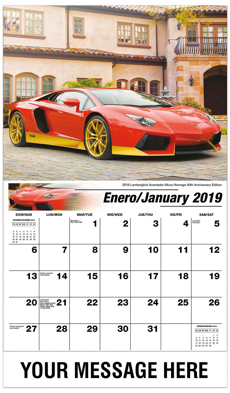 2019  Spanish-English Advertising Calendar - 2016 Lamborghini Aventador Miura Homage 50Th Anniversary Edition - January